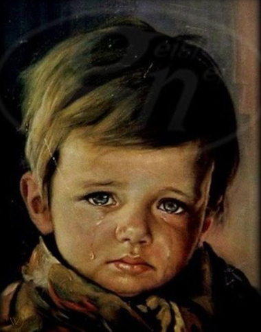 crying boy haunting painting